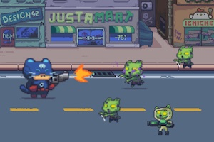 Jeu Cat gunner vs zombies